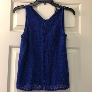 Blue Lace Tank Blouse